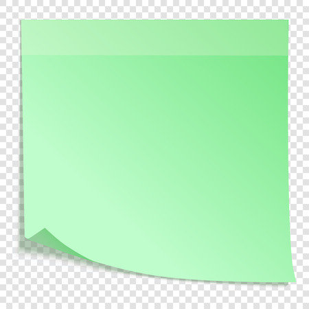 Green sticky note with transparent shadows, isolated on transparent background, vector illustration
