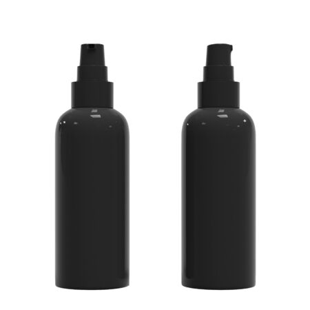 Blank black luxury cosmetic bottle, isolated on white background, 3D rendering. Dispenser for cream, soups, foams and other cosmetics.