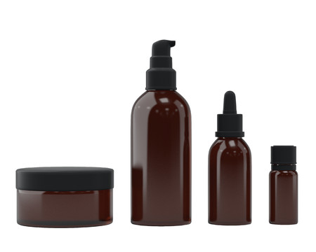 Set of bottles for essential oils and cosmetic products, isolated on white background. Dropper bottle, flask, spray bottle, jar. 3D rendering. Banco de Imagens