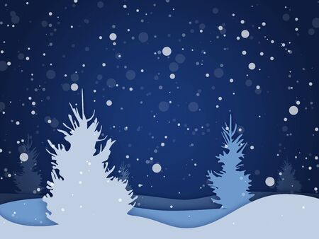 Vector winter night forest background with falling snow. Holiday landscape for Merry Christmas.