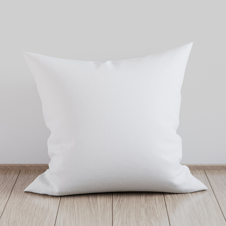 Blank white soft square pillow on a wooden floor near the wall, mockup for your design, 3D render