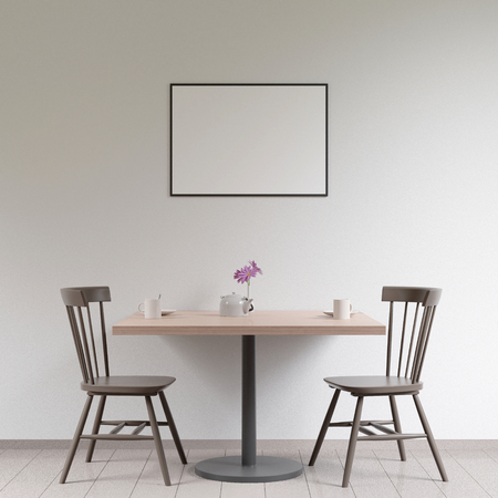 Mockup poster in the cafeteria interior, chairs and a table with dishes near the wall, 3D render Stock Photo - 111846230