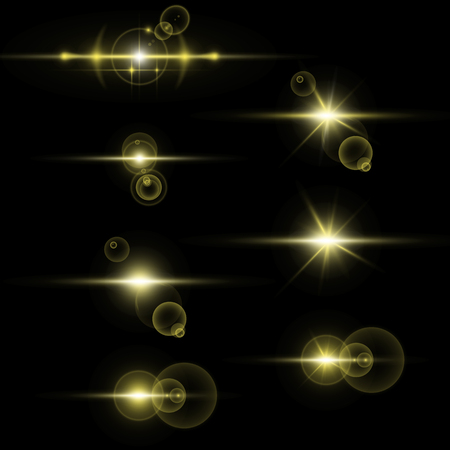 Collection of light effects on black background. Vector transparent sunlight special lens flare effect.