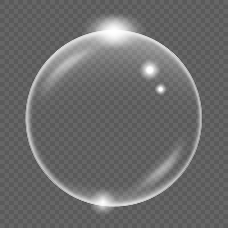 White transparent soap air bubble, isolated on black background, vector illustration Ilustração