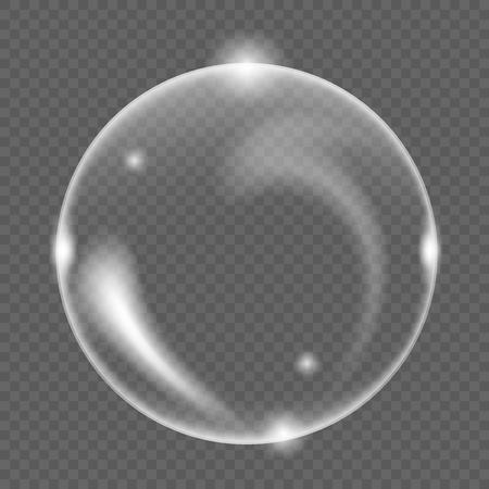 White transparent soap air bubble, isolated on black background, vector illustration Ilustração
