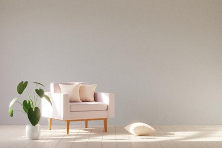 Interior minimalista moderno con un sillón. Estilo escandinavo. Render 3D. Foto de archivo