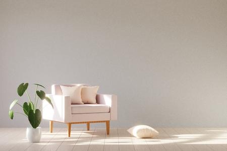 Nowoczesne minimalistyczne wnętrze z fotelem. Styl skandynawski. renderowania 3D. Zdjęcie Seryjne