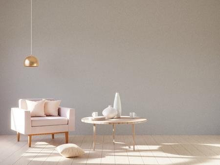 Interni moderni e minimalisti con una poltrona. Stile scandinavo. Rendering 3D.