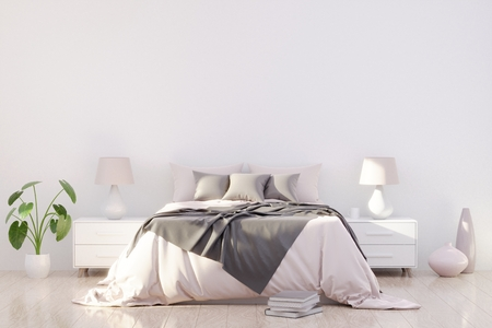 Bright and cozy modern bedroom interior design, light walls, gray blanket,soft pillows, white furniture, green plant. 3D render. Imagens - 111846488