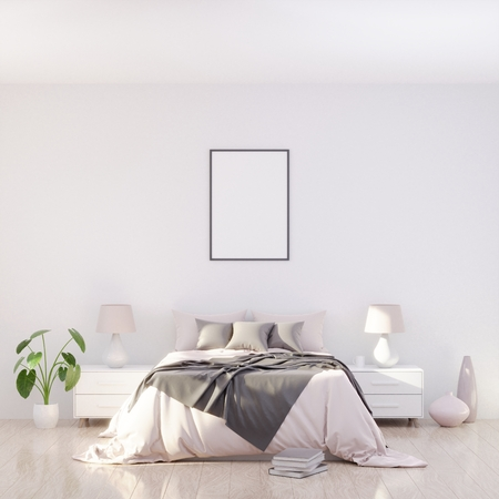 Bright and cozy modern bedroom interior design, light walls, gray blanket,soft pillows, white furniture, green plant. 3D render.