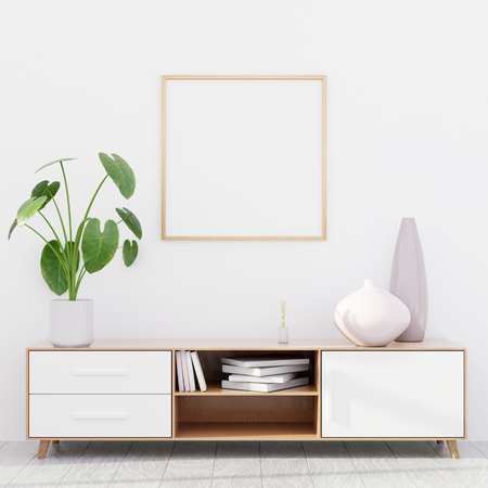 Modern living room interior with a wooden dresser, a square poster mockup and a green plant, 3D render Banco de Imagens