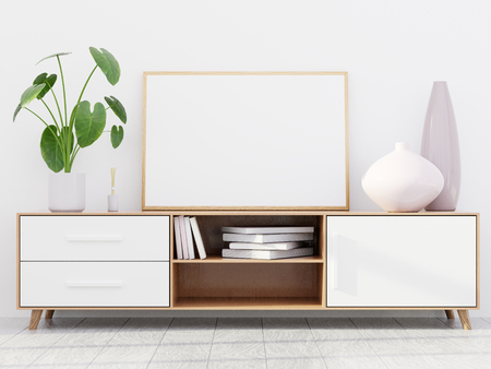 Modern living room interior with a wooden dresser, a horizontal poster mockup and a green plant, 3D render