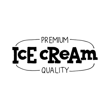 Handwritten lettering Ice Cream. Elements for labels, logos, badges, stickers or icons. Black letters isolated on white background. Typographic for restaurant, bar, cafe, menu, ice cream or sweet shop 矢量图像
