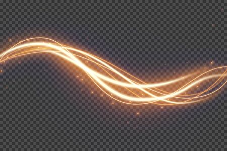Transparent light effect with curve trail and sparkles. Glowing shiny lines. Abstract light speed motion effect on a transparent background.  Vector illustration.
