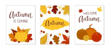 Set of autumn handdrawn lettering cards. Template for poster, card, invitation, placard, brochure, flyer.