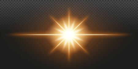 Gold glowing light on a transparent background. Vector illustration. 矢量图像