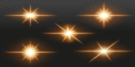 Collection of optical lens flare effects. Transparent vector illustration.