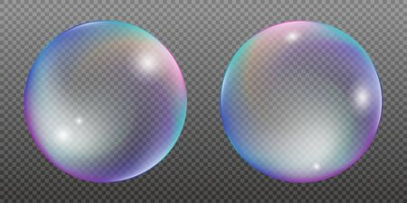 Set of two colorful water bubbles with rainbow reflections. Vector illustration isolated on a transparent background