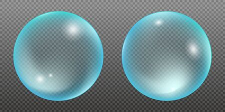 Set of two blue water bubbles isolated on a transparent background