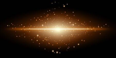 Transparent gold glowing light on a black background. Vector illustration. 矢量图像