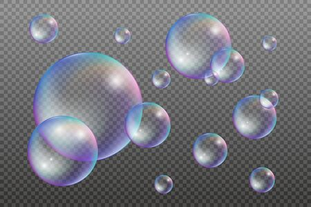 Set of water bubbles with rainbow reflections. Vector illustration isolated on a transparent background 矢量图像