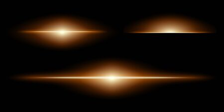 Collection of optical lens flare effects. Raster illustration on a black background.