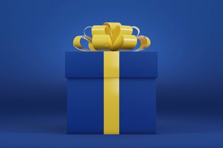 3D render of a blue gift box on a blue background. Concept for a sale, gift card, party banner.