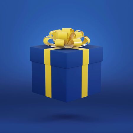 3D render of a blue gift box on a blue background. Concept for a sale, gift card, party banner 免版税图像
