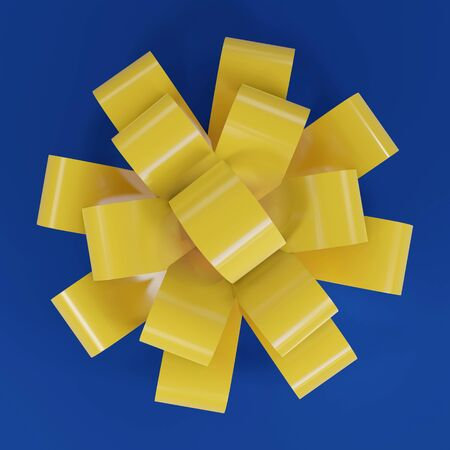3D render of a yellow bow for a gift. 免版税图像