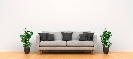 Modern minimalistic interior with sofa. Empty wall mockup. 3D rendering