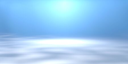 Soft blue background with spotlight, underwater scene, 3D rendering. Empty perspective room for product display.