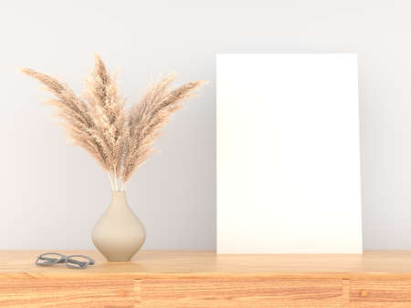 3D rendering of a blank canvas on the wall in a modern interior living room