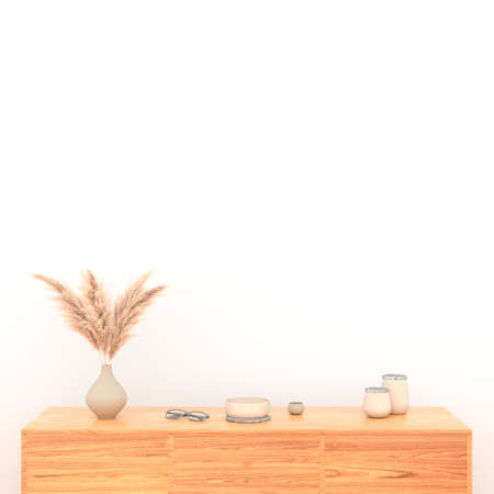 3D rendering of modern living room interior, blank white wall.