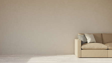 A modern interior in warm colors, a sofa in a living room, empty wall. 3D render.