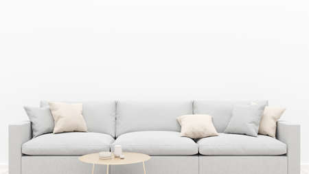 Living room interior with a gray sofa, pillows and a coffee table. White empty wall. 3D render.