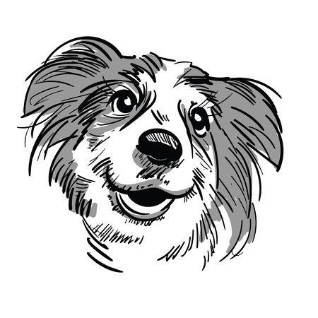 Cartoon hond hoofd. Vrolijke snuit van een hond met een open mond. Stock Illustratie