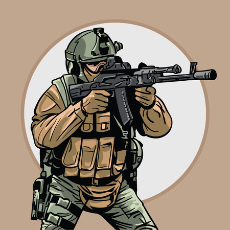 Soldier with gun. Warrior. Special Forces.