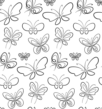 Butterfly set pattern black on White symbols illustration.