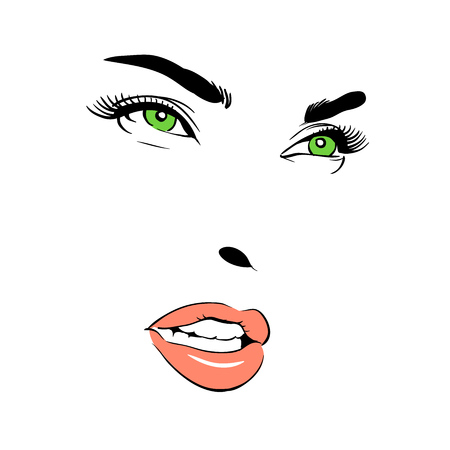 A woman's face with Green-eye. Banque d'images - 94454276