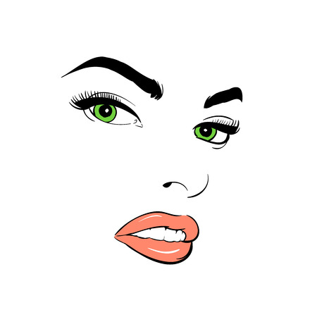 A womans face. Green-eyed. Attentive. Illustration