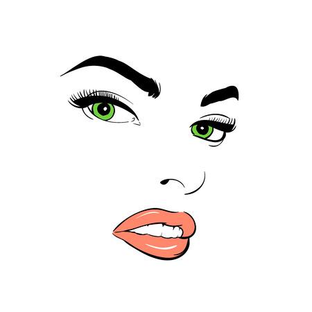 Un visage de femme. Aux yeux verts. Attentif. Banque d'images - 94454280