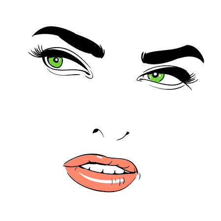 A womans face. Green-eyed. Shrewd. Banque d'images - 94541223