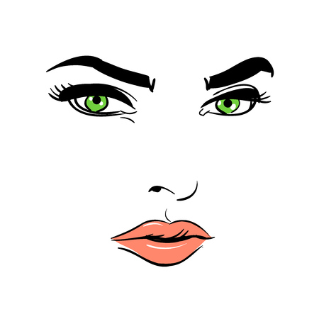 A womans face. Green-eyed. Mysterious. Banque d'images - 94541222