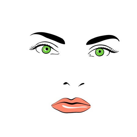 A womans face. Green-eyed. Calm. Banque d'images - 94541226