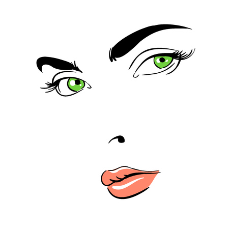 A womans face. Green-eyed. Thoughtful.