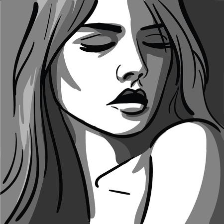 Fille. Portrait. Monochrome. Laver le dessin. Banque d'images - 94494982