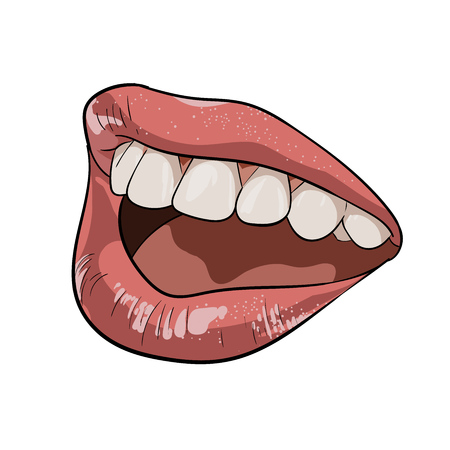 A womans mouth. Ajar, calling illustration on white background.