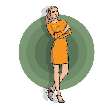 Girl in a yellow dress in full body design.