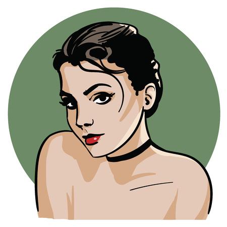 Attractive girl illustration.