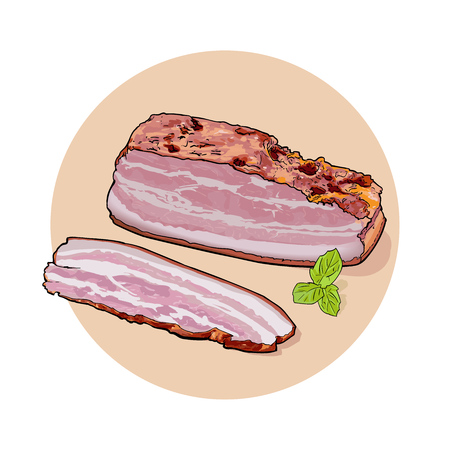 A large piece of bacon and sliced piece with green leaves.
